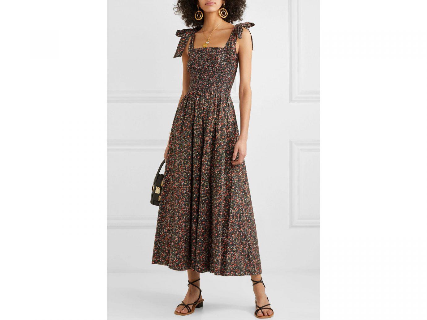 DÔEN Jasmine shirred floral-print cotton-poplin maxi dress