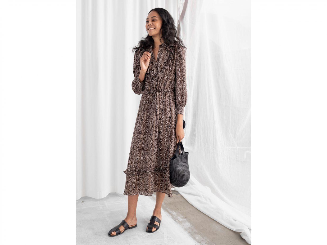 & Other Stories Printed Ruffle Bib Midi Dress
