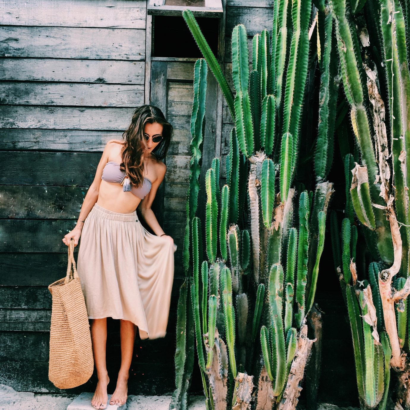 Style + Design outdoor person green cellphone standing cactus girl plant hedgehog cactus tree