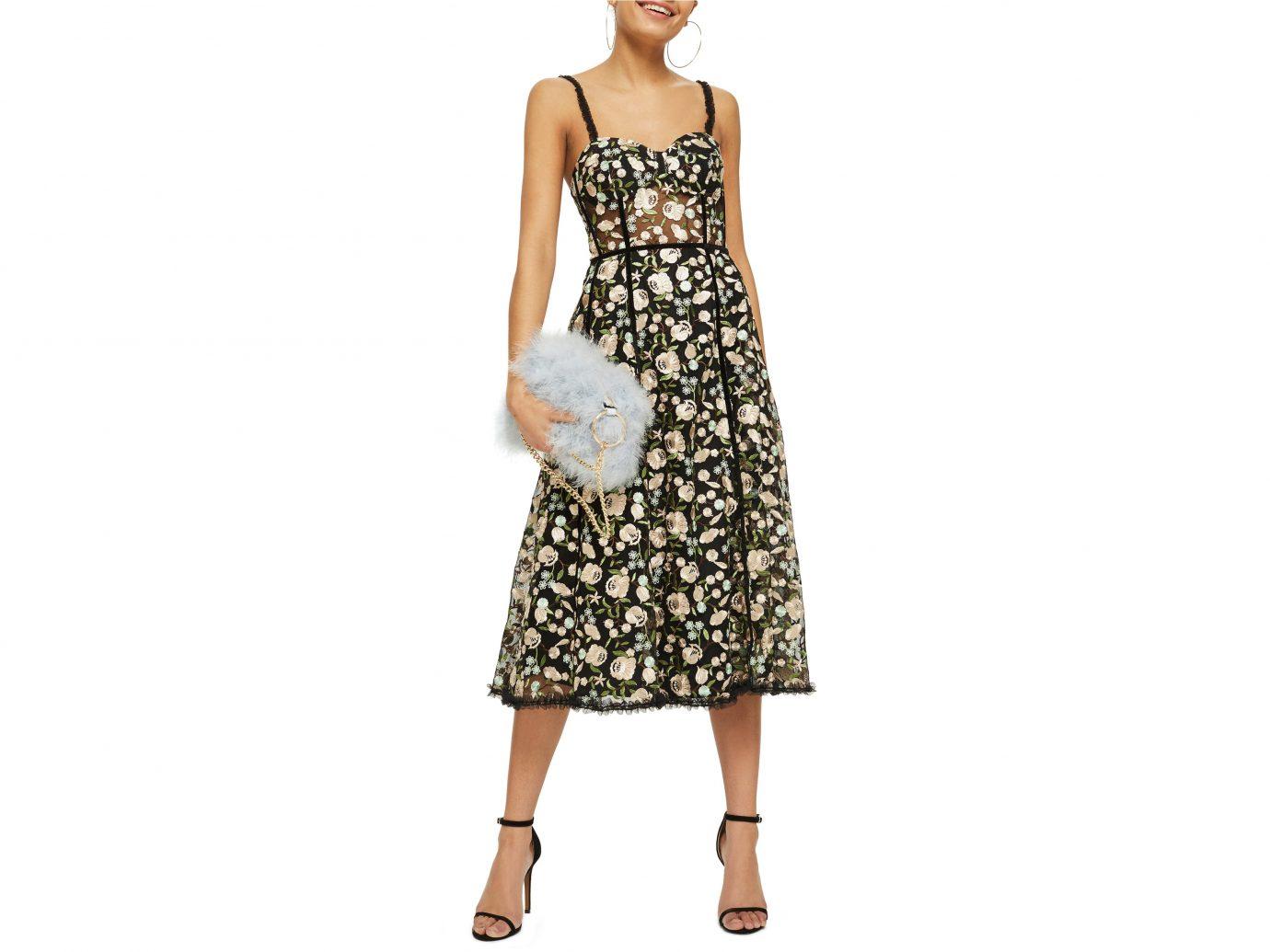 Topshop Floral Corset Midi Dress