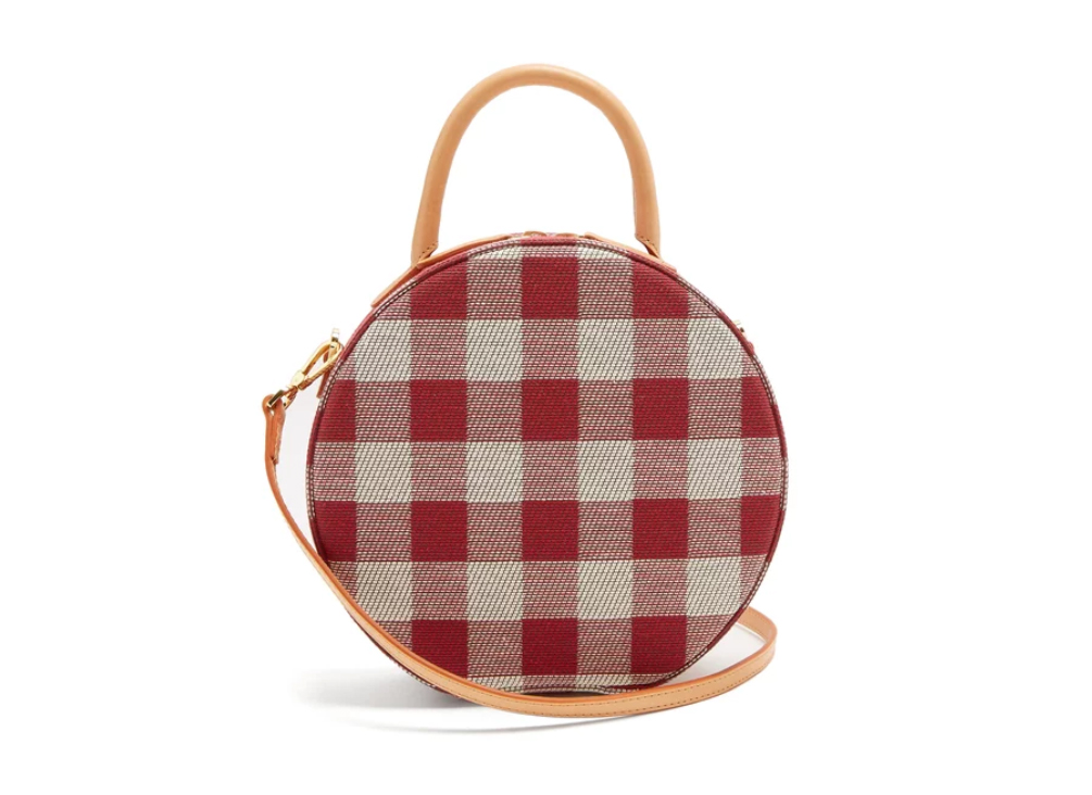 Mansur Gavriel Circle Gingham Cotton-canvas Cross-body Bag