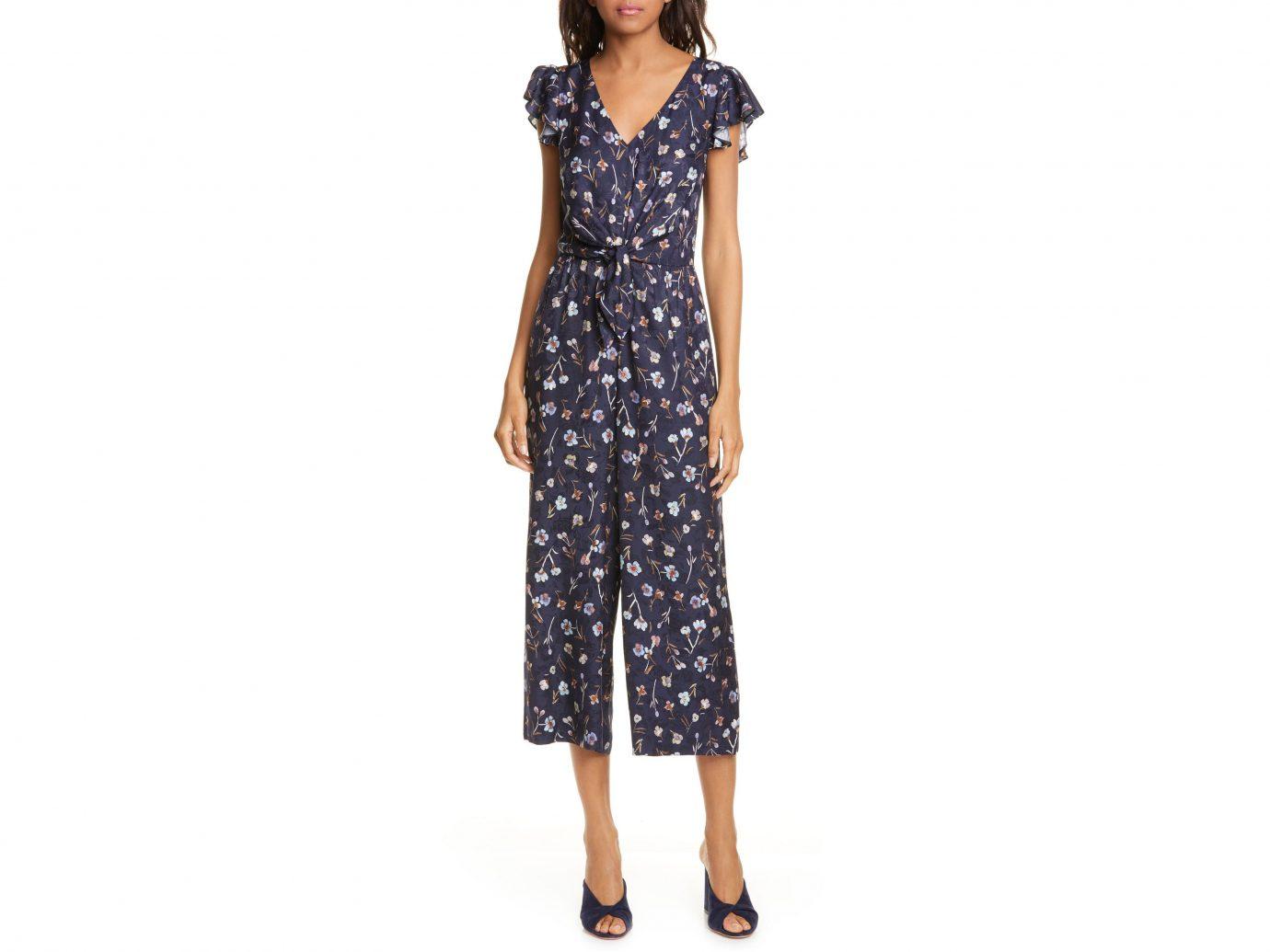 Rebecca Taylor Aurelie Tie Floral Silk Blend Jumpsuit
