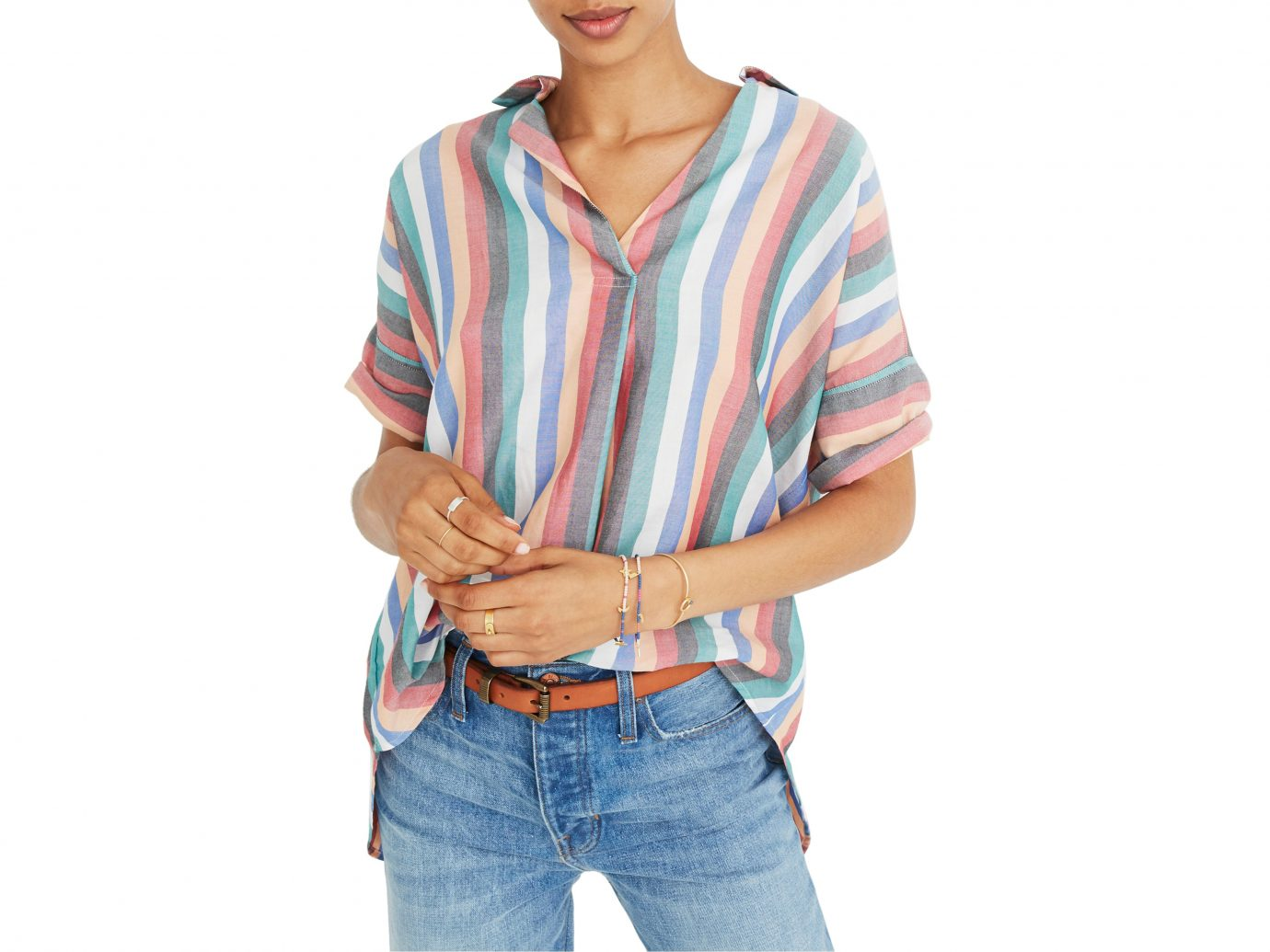 Madewell Courier Button Back Shirt in Multi Stripe