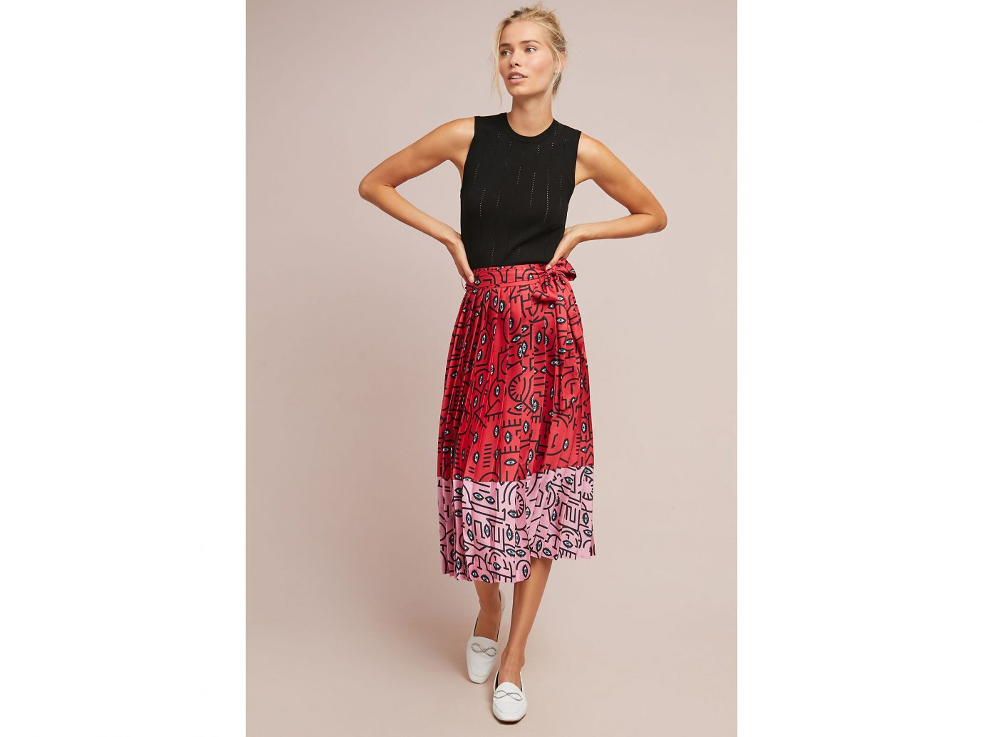 Anthropologie Delfi Two-Toned Pleated Skirt