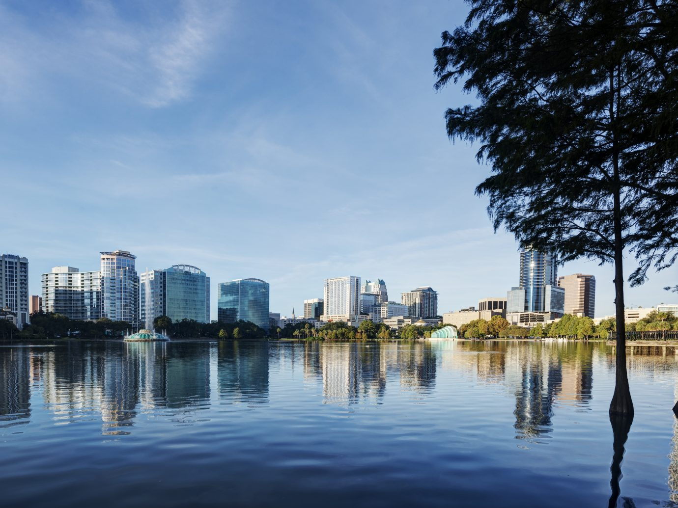 Orlando at Lake Eola Park with Blue Sky in the Early Morning.