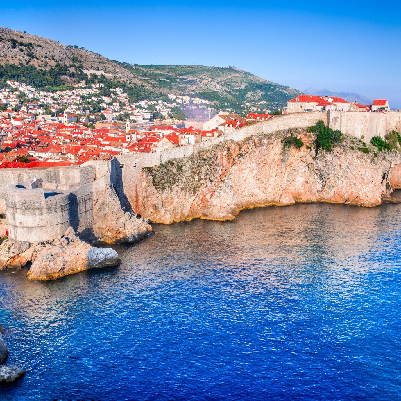 Dubrovnik, Croatia - Sunset summer light on medieval walled city of Ragusa, Dalmatia.