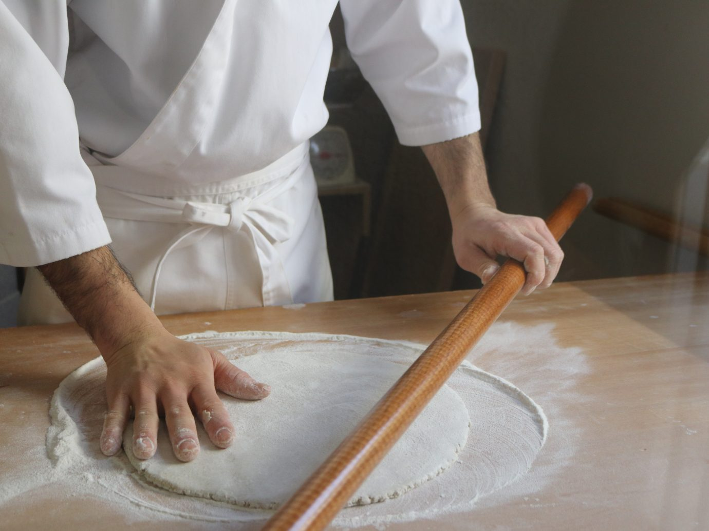 chef making soba noodles