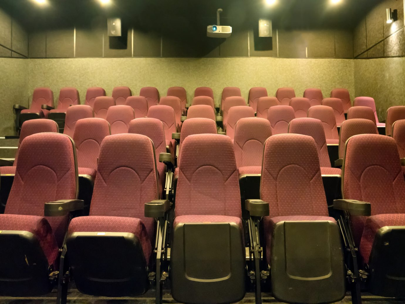 Empty seats in the small movie theater