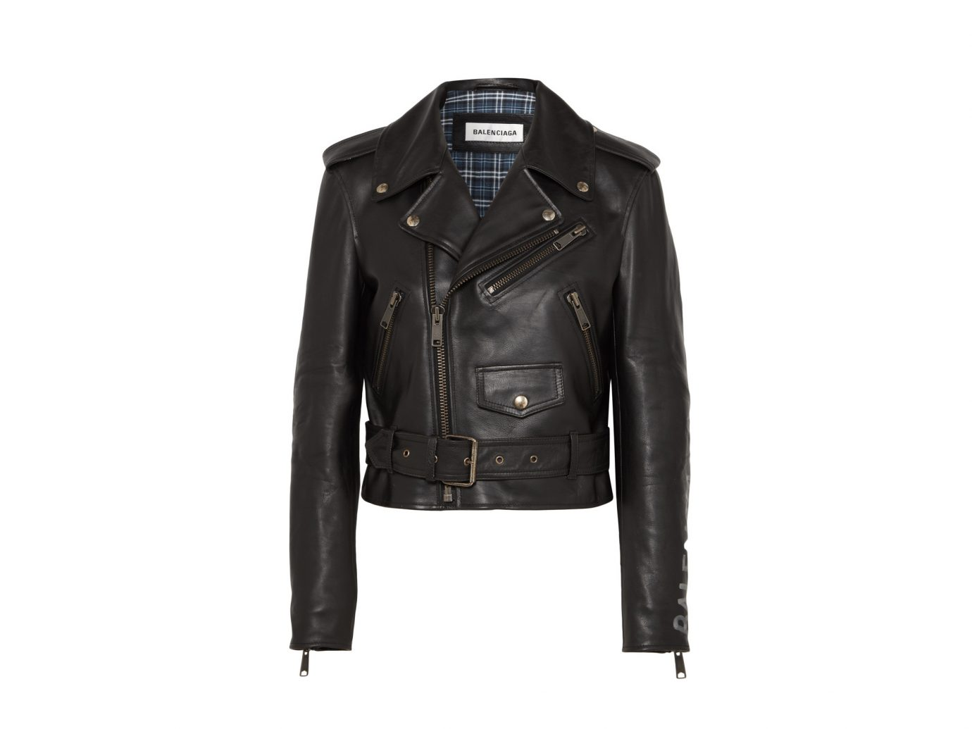 BALENCIAGA Cropped printed leather biker jacket