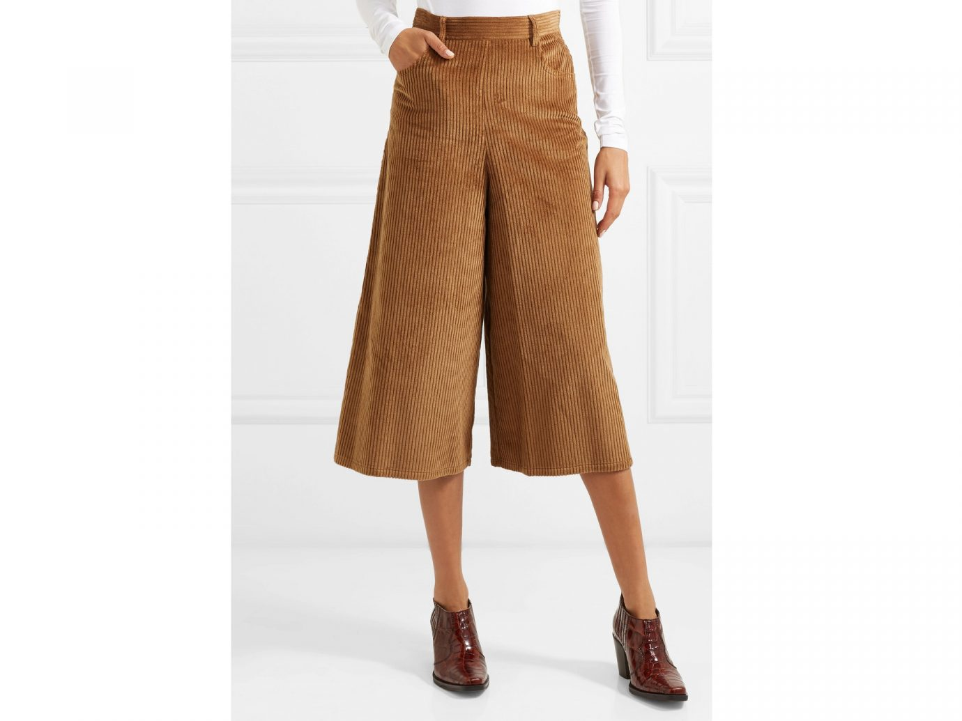 See By Chloé Cropped cotton-blend corduroy wide-leg pants
