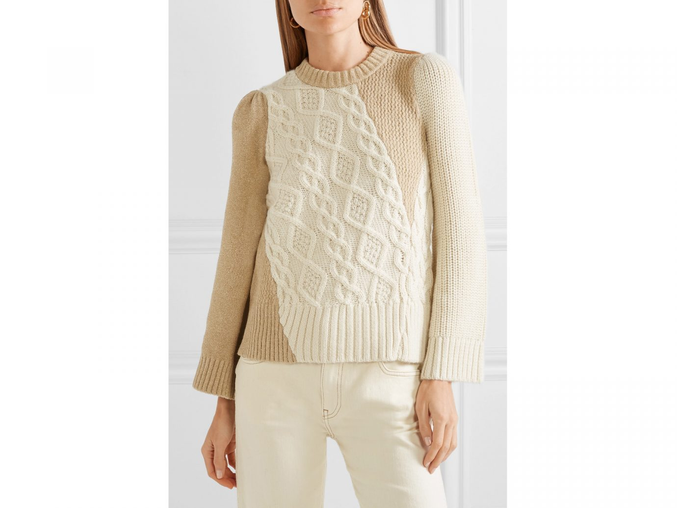 CO Two-tone cable-knit alpaca-blend sweater