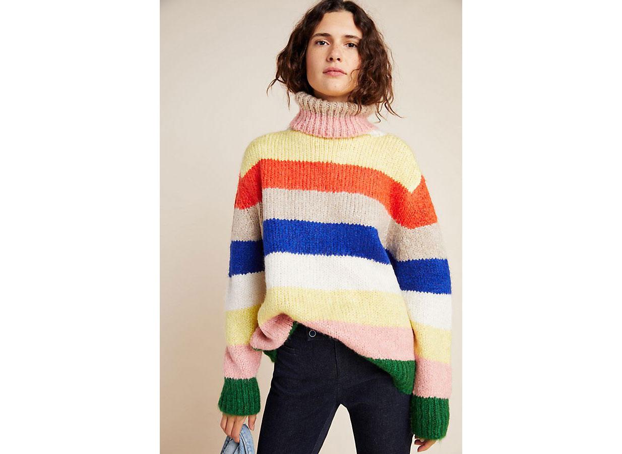 Anthropologie Gloria Striped Turtleneck Sweater