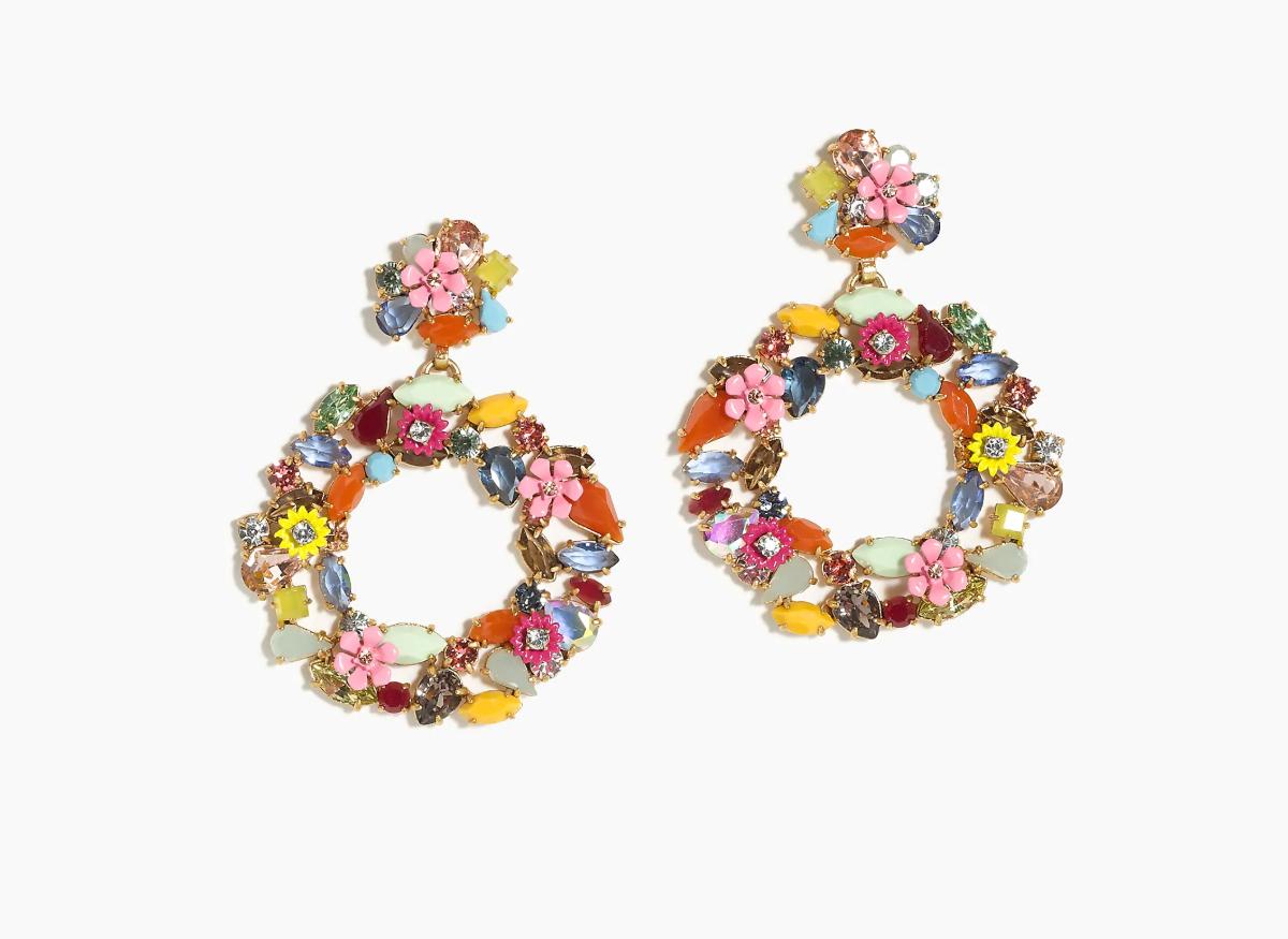 J. Crew Colorful floral hoop earrings
