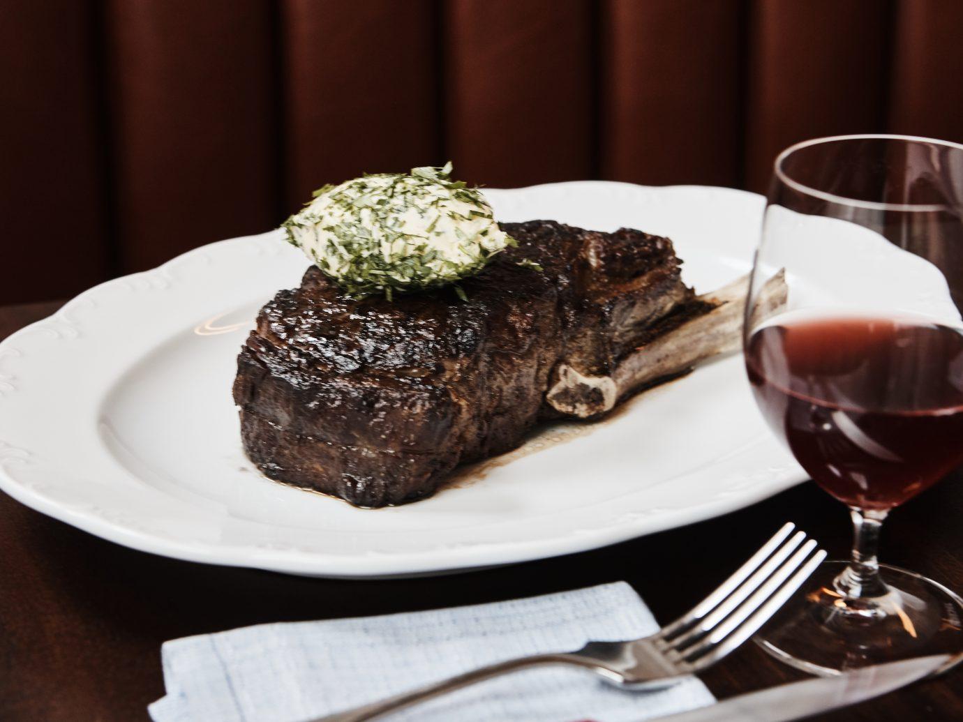 Frenchette steak and wine