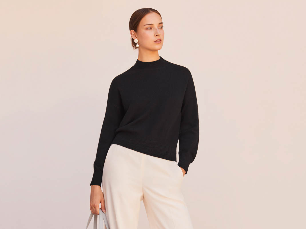Cuyana Recycled Cashmere Mock Neck Sweater