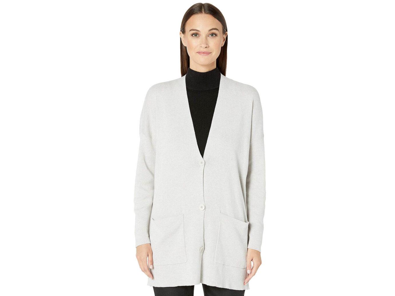 Eileen Fisher Fine Organic Cotton Silk V-Neck Boyfriend Cardigan