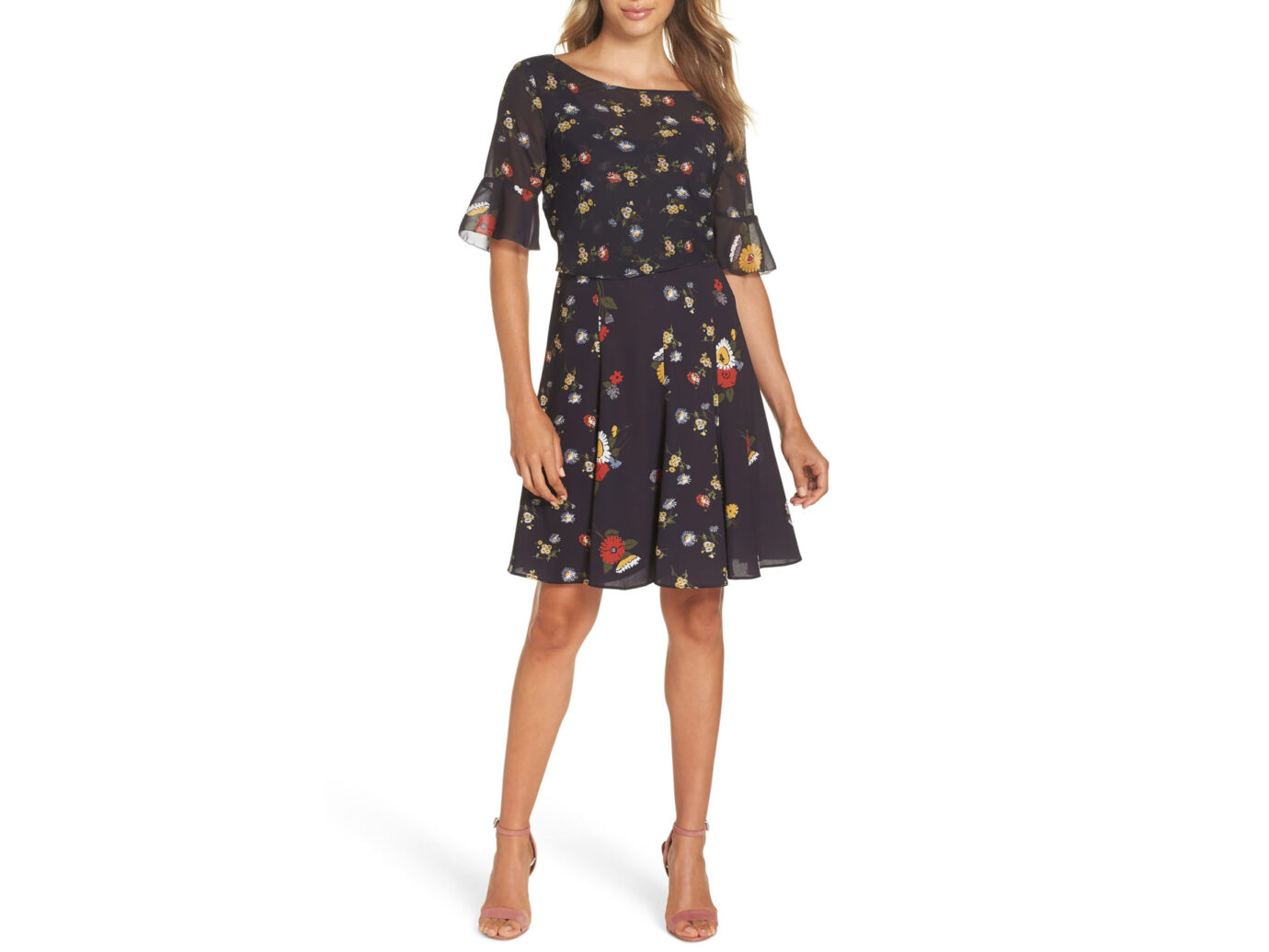 French Connection Baudet Print Fit & Flare Dress