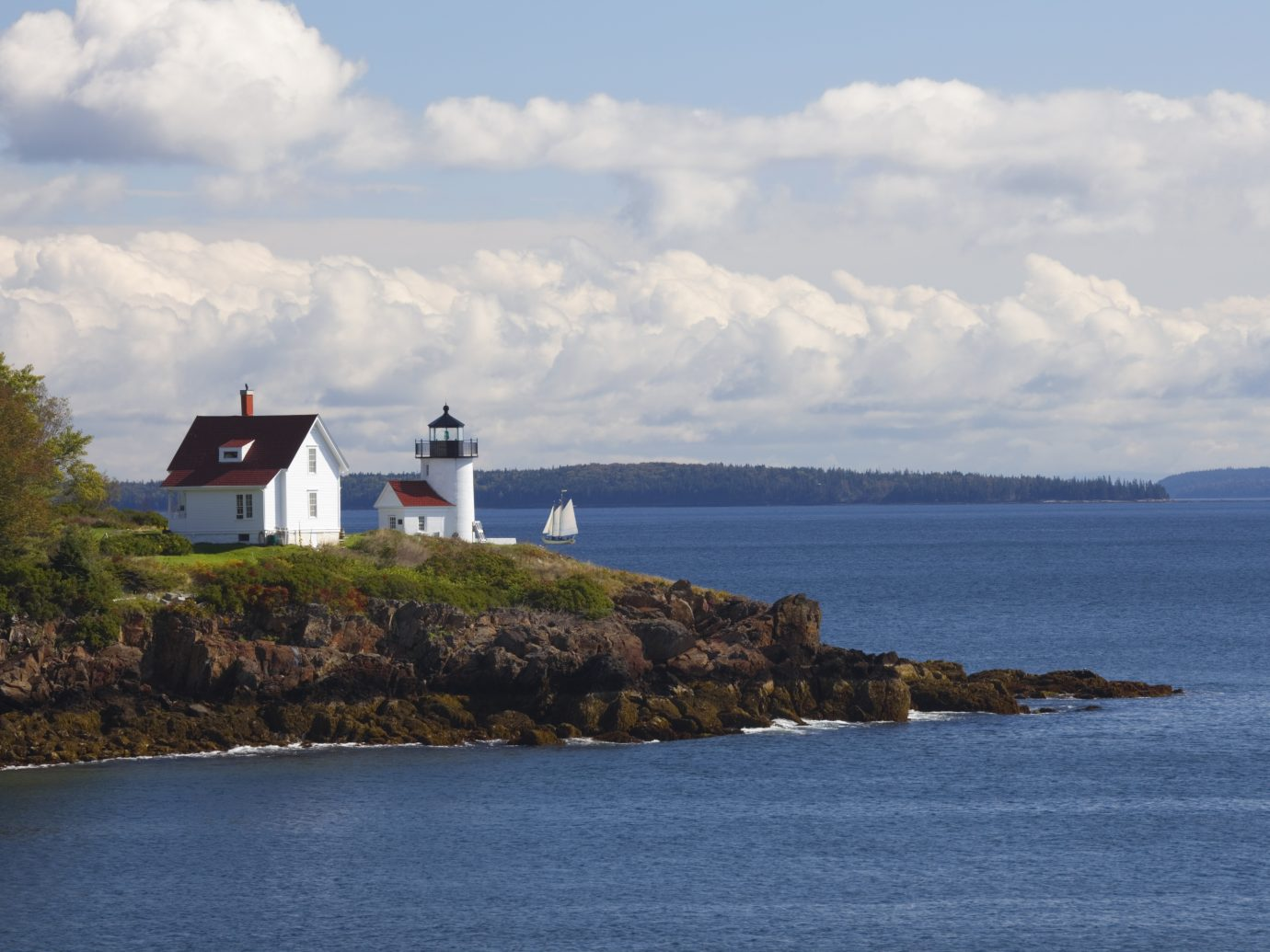 Curtis Island Lighthouse and sailboat in Camden (Maine) Harbor.