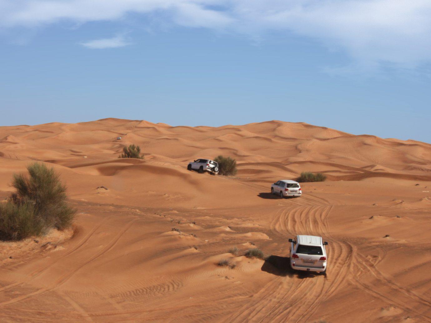 Desert safari at the sand dunes in Dubai, UAE.