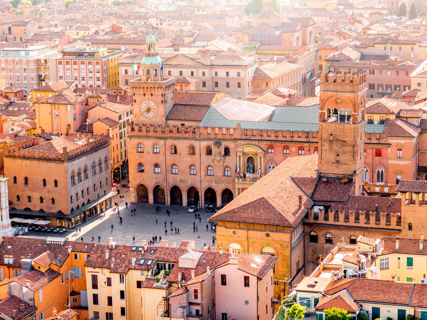 Aerial cityscape view from the tower on Bologna old town center with Maggiore square in Italy