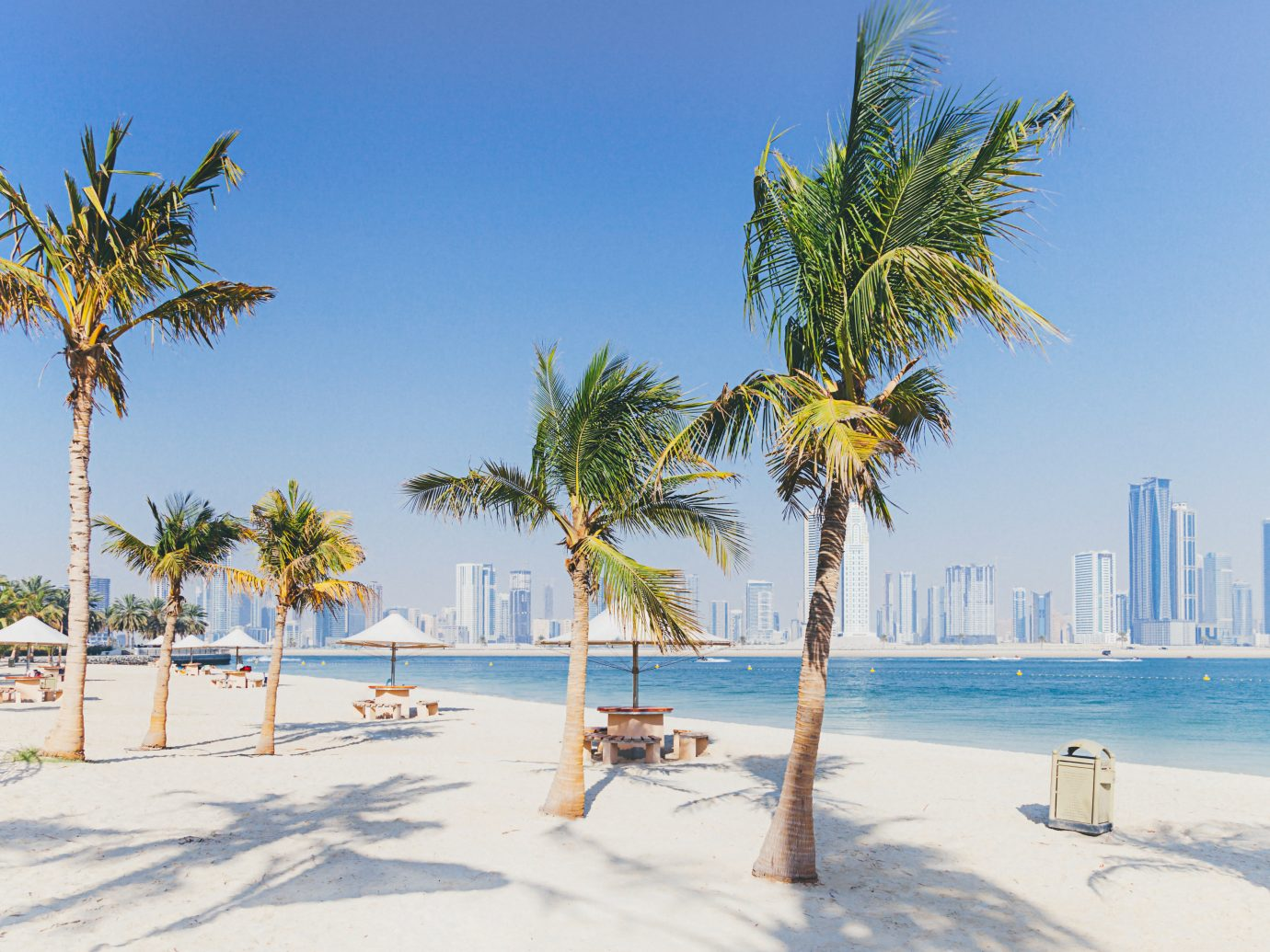 City view from Al Mamzar Beach Park in Dubai, UAE