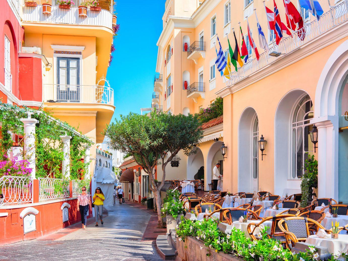 Capri, Italy - October 3, 2017: Tourists at Street cafes on Capri Island, Italy