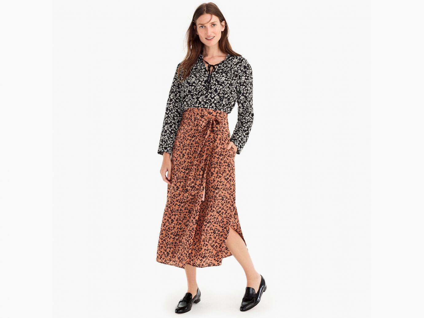 High-Waisted Silk Wrap Skirt in Caramel Blossom Print
