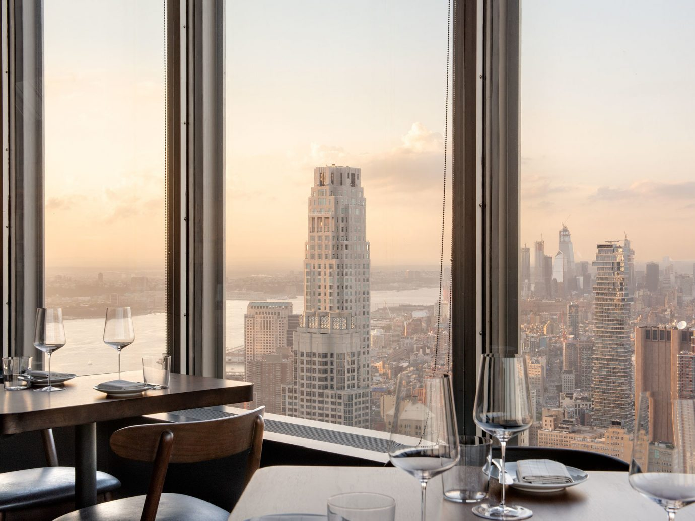 View from penthouse Manhatta dining room in NYC