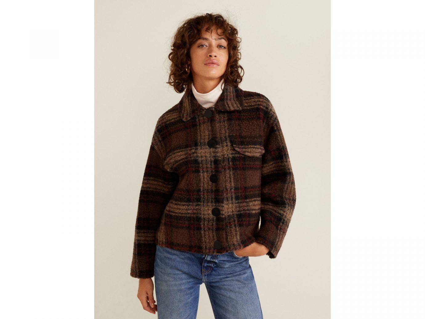 Checkered wool-blend jacket