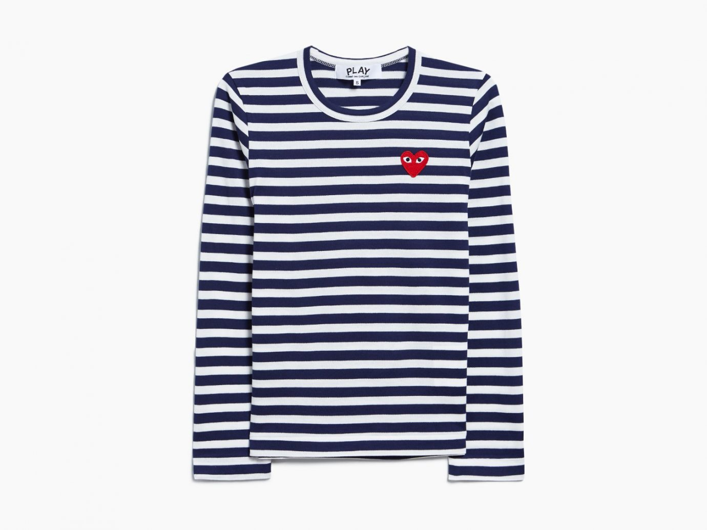 striped long sleeve tee, Comme des Garçons Play Striped T-Shirt in Navy