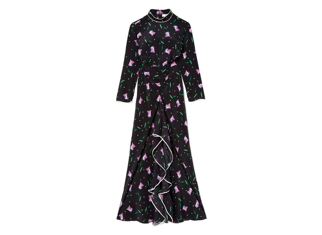 Rixo London Gabrielle High-Neck Ruffle Dress