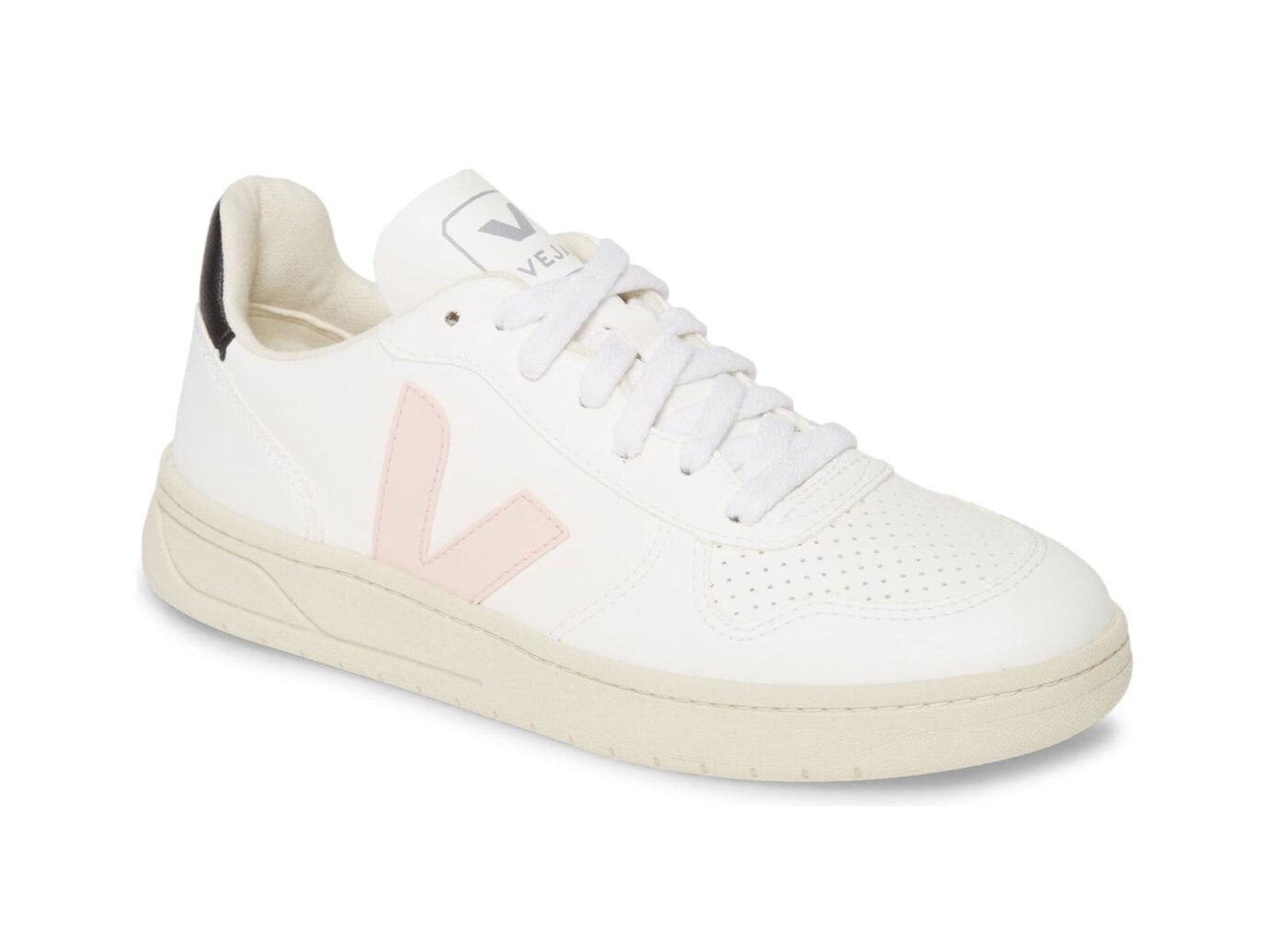Veja V-10 Bastille Sneaker in White/Petale/Black
