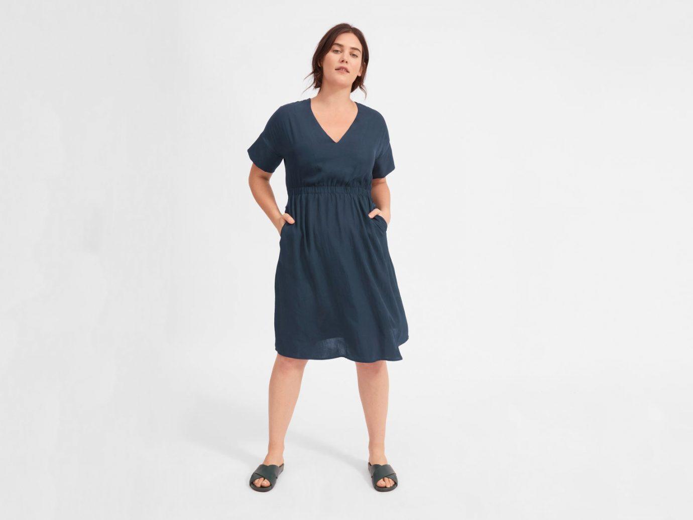 Wrinkle-resistant dress for travel: Everlane The Japanese GoWeave Light V-Neck Dress