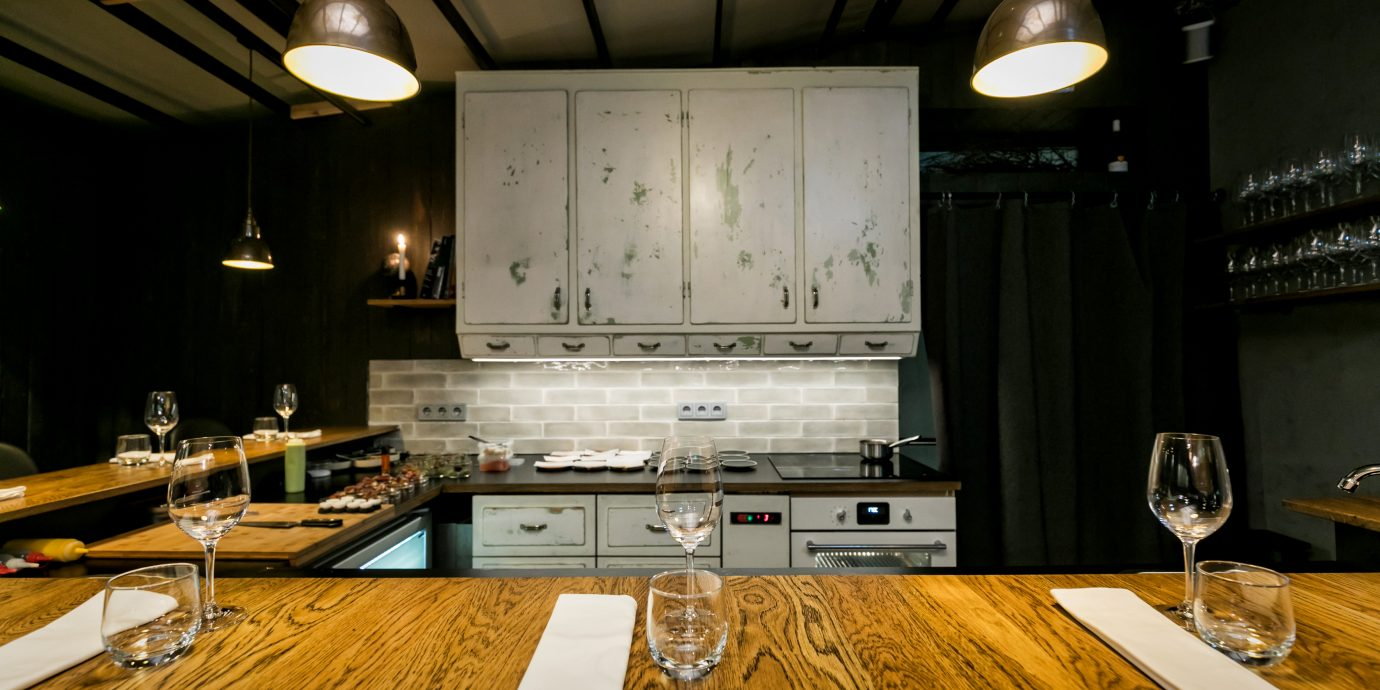 View of kitchen at OX restaurant in Reykjavik Iceland