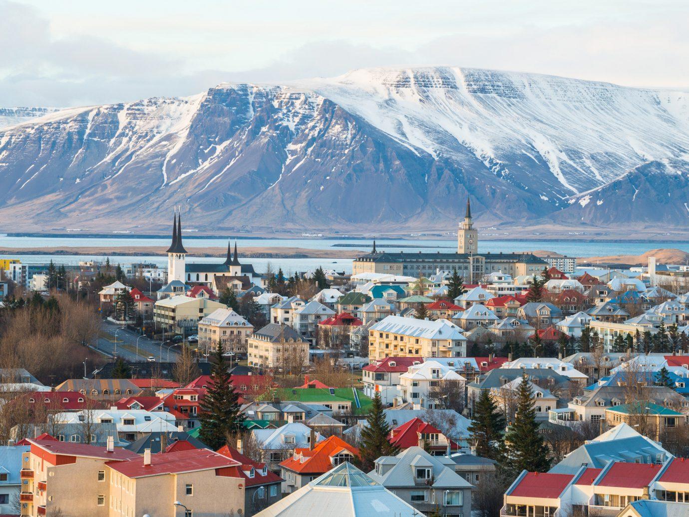 Ariel view of Reykjavik Iceland