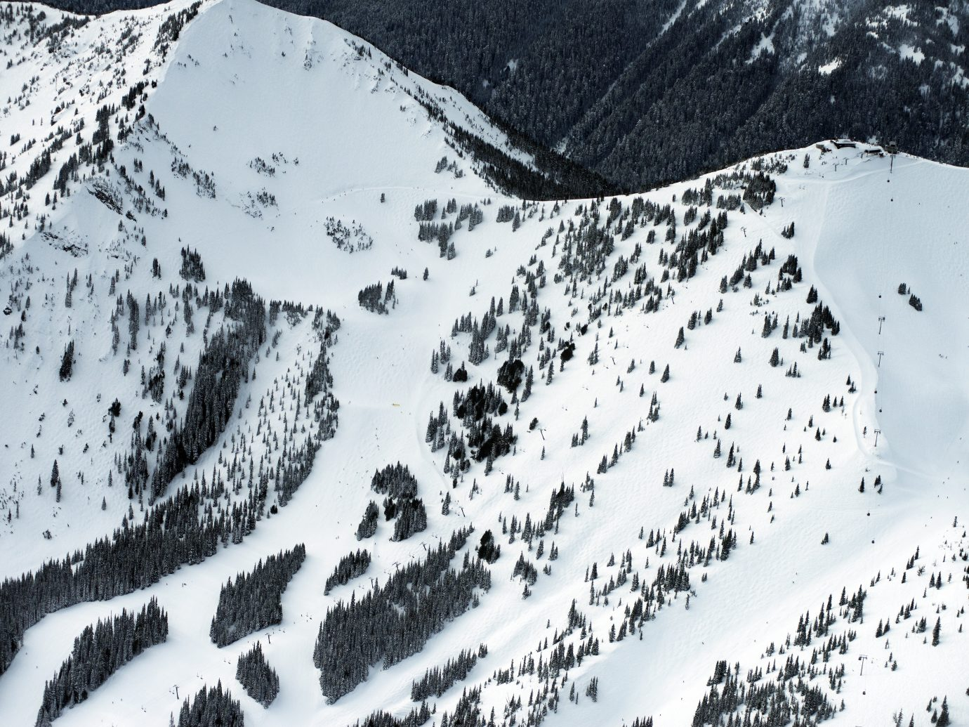 Aerial shot at Crystal Mountain, Pierce, WA
