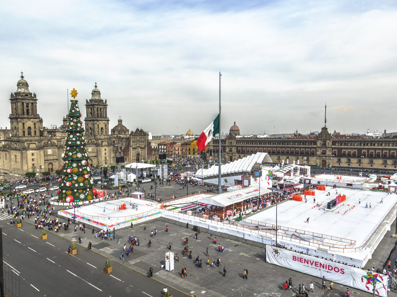 Zocalo Square decorated for Christmas in Mexico DF, in a cold december morning.