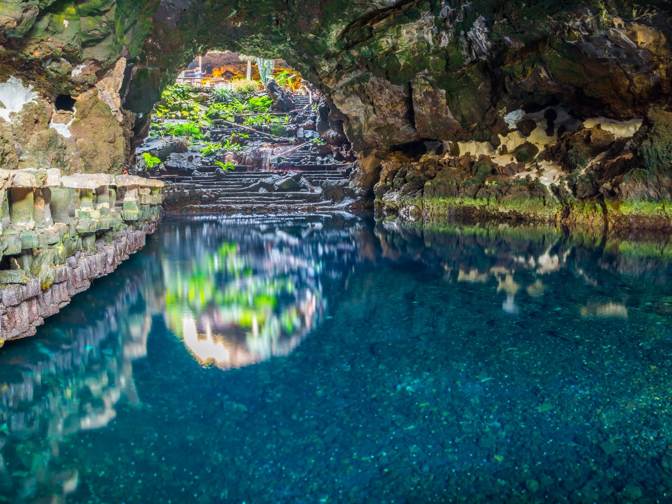 Beautiful cave reflected in the water in Jameos del Agua, Lanzarote, Canary Islands, Spain