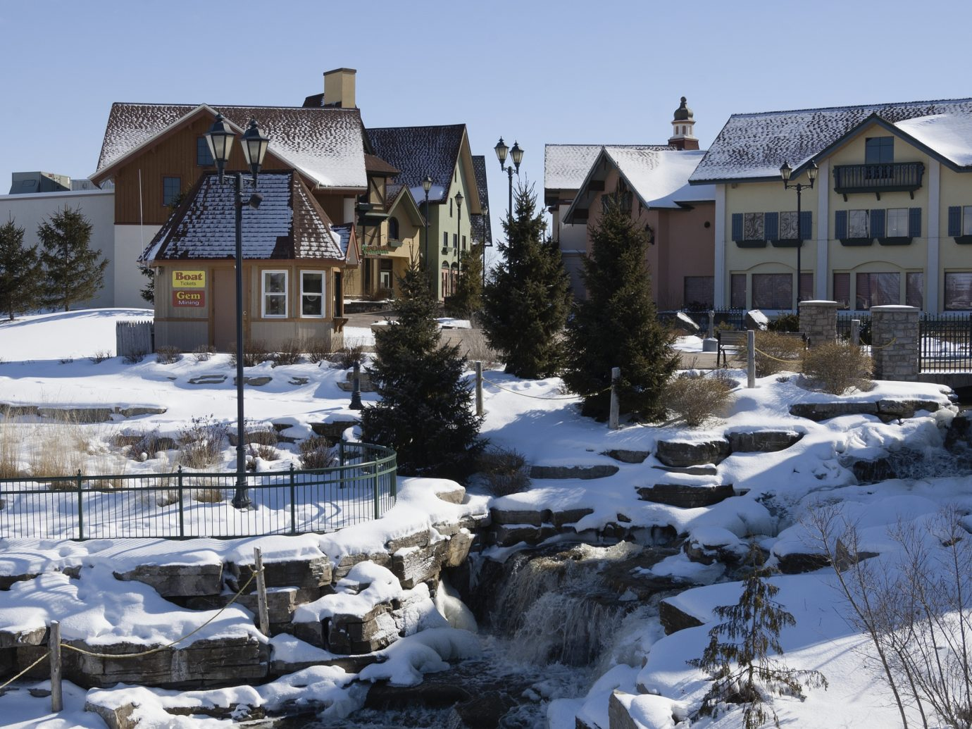 A portion of the River Place shopping district in Frankenmuth, Michigan in winter.