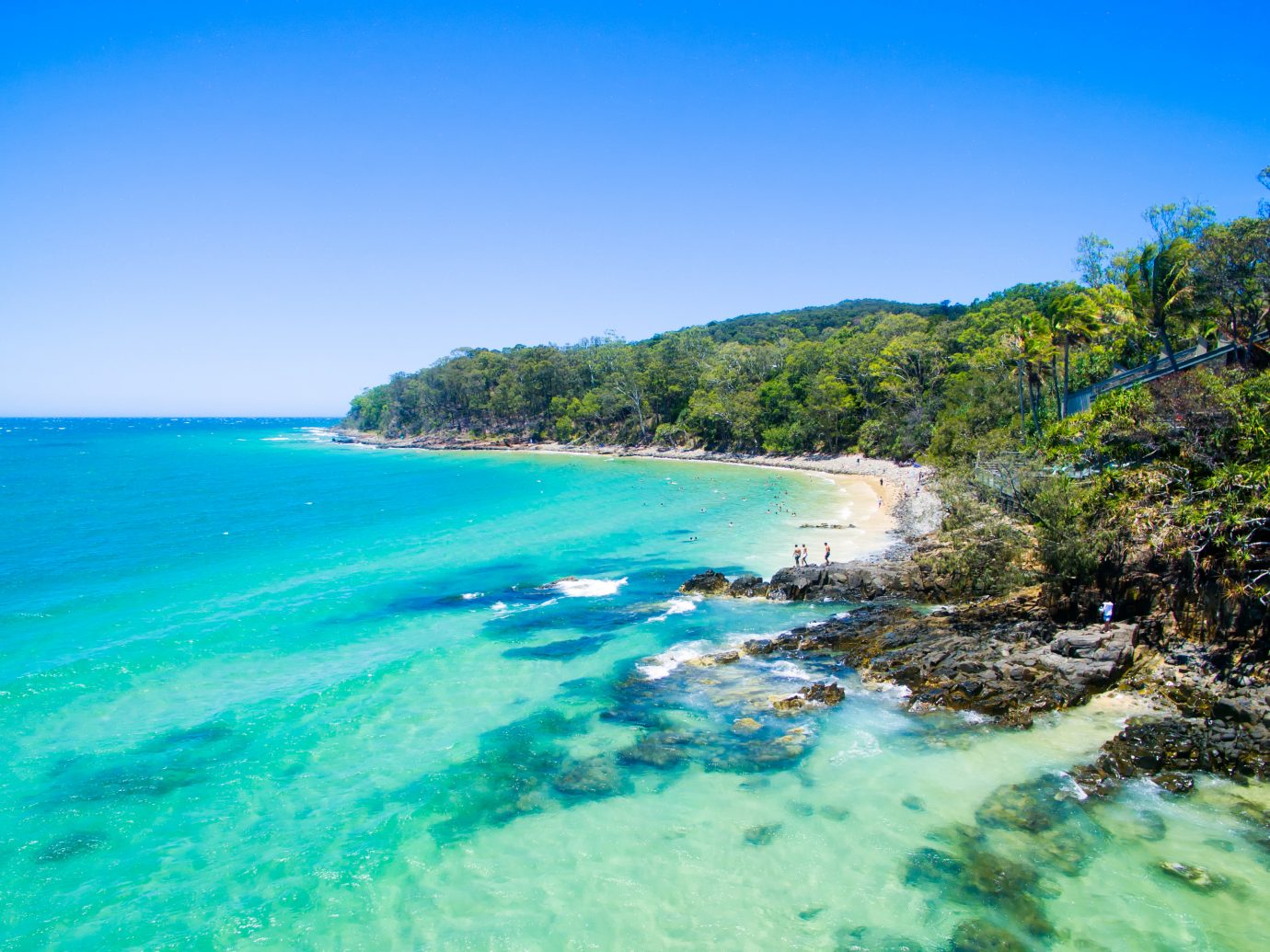looking down over the ocean at Noosa on the Sunshine Coast