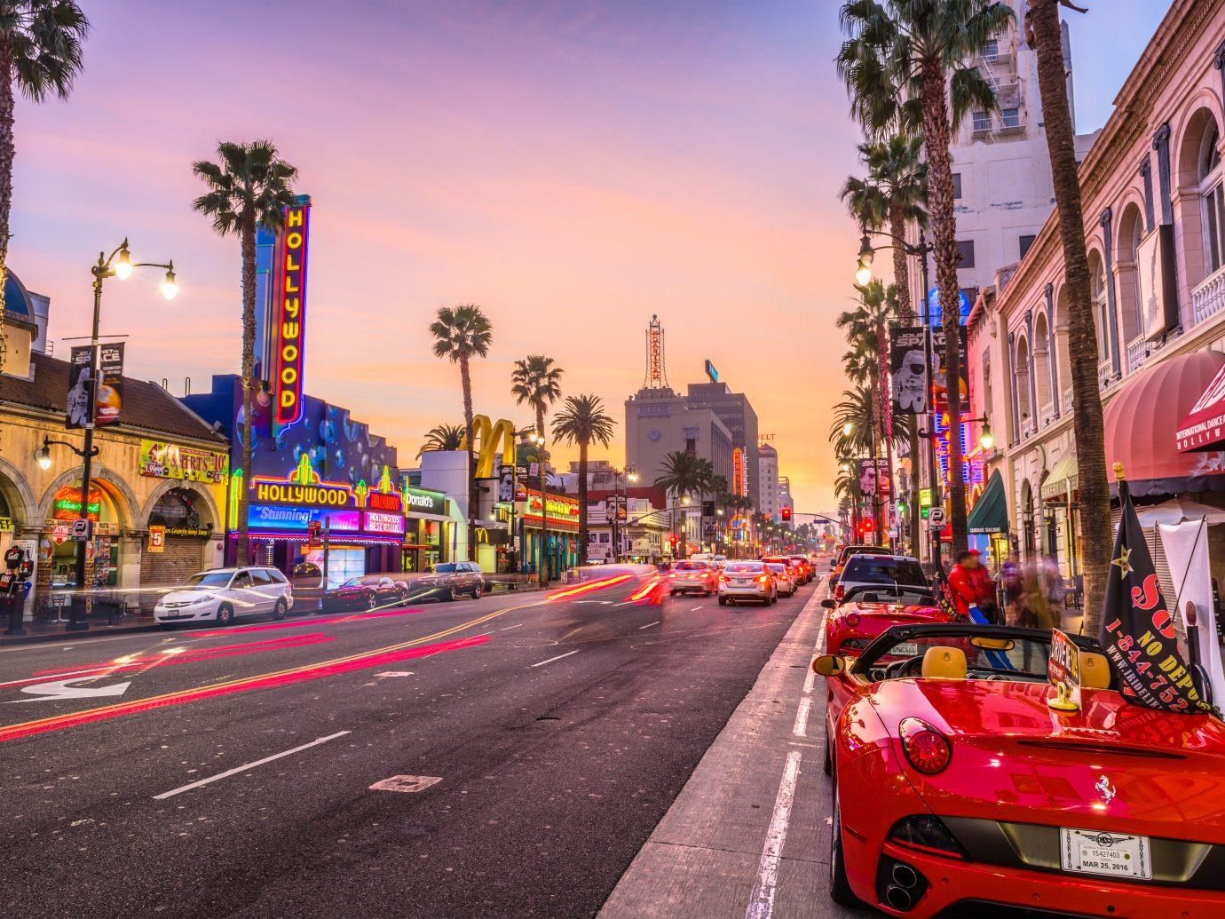 Traffic on Hollywood Boulevard at dusk