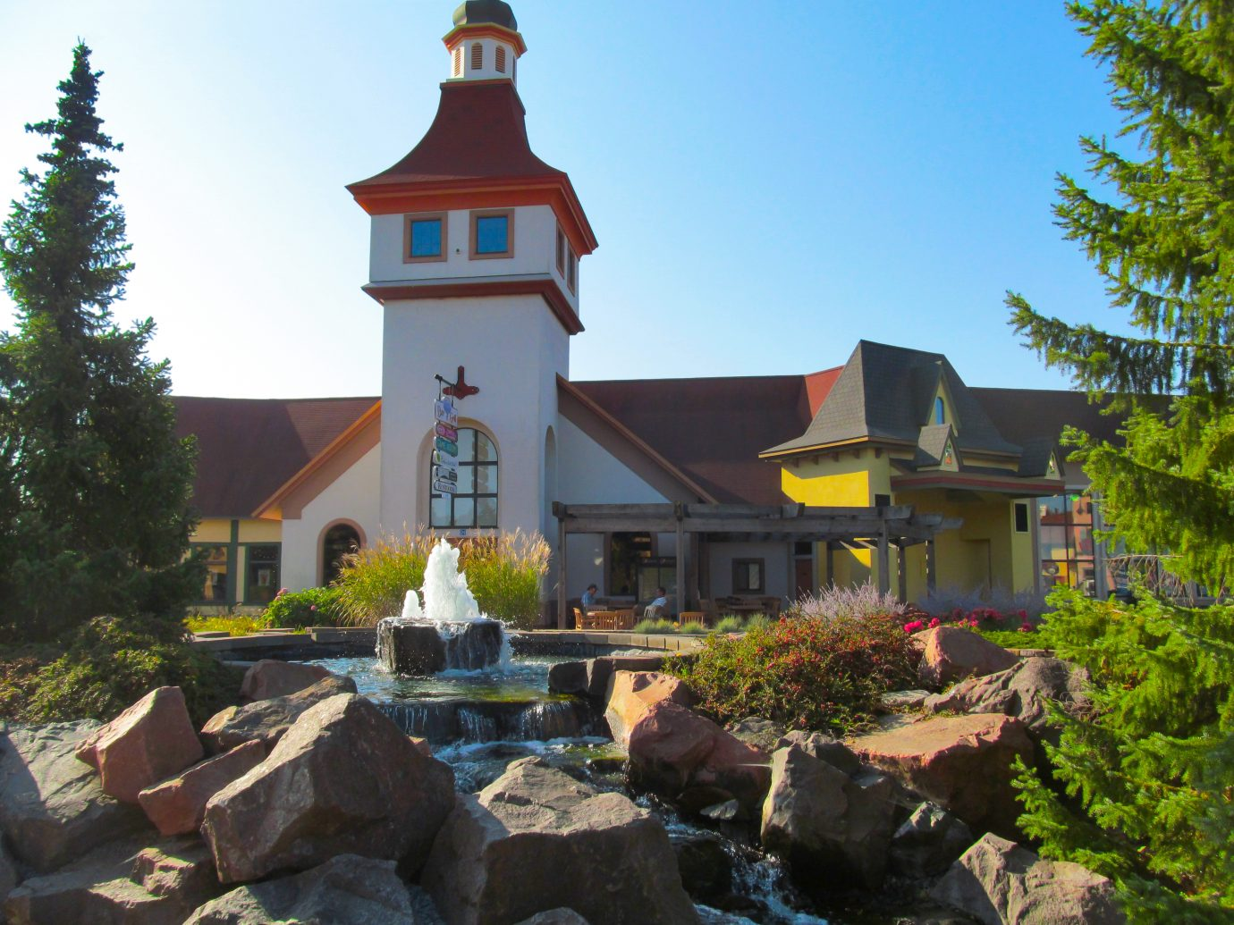 Picturesque landscape of amazing tourist town Frankenmuth in Michigan on a sunny day.