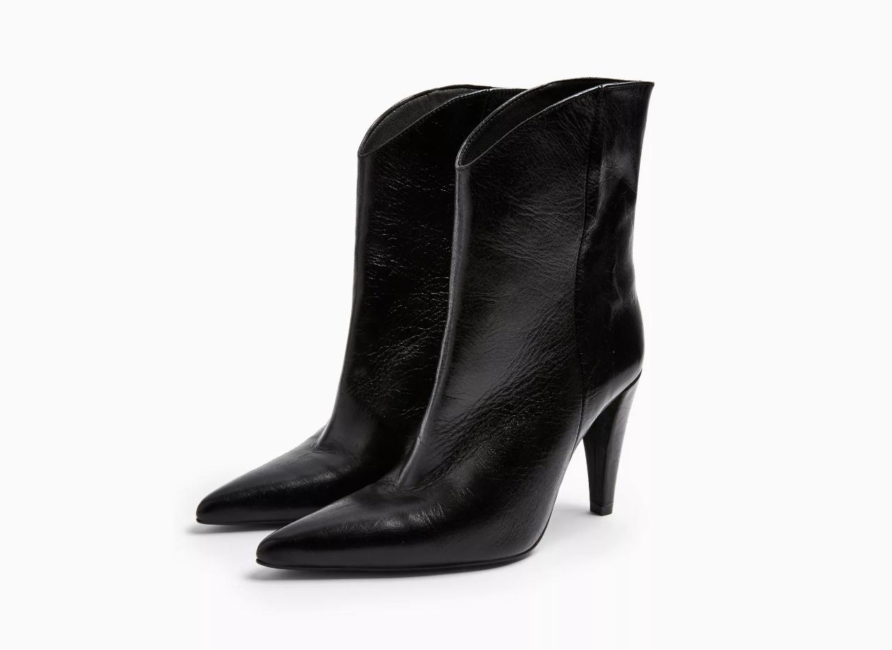 TopShop Havana Leather Black Boots
