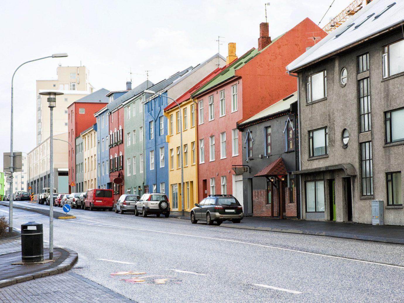 Row of houses in Reykjavik Iceland