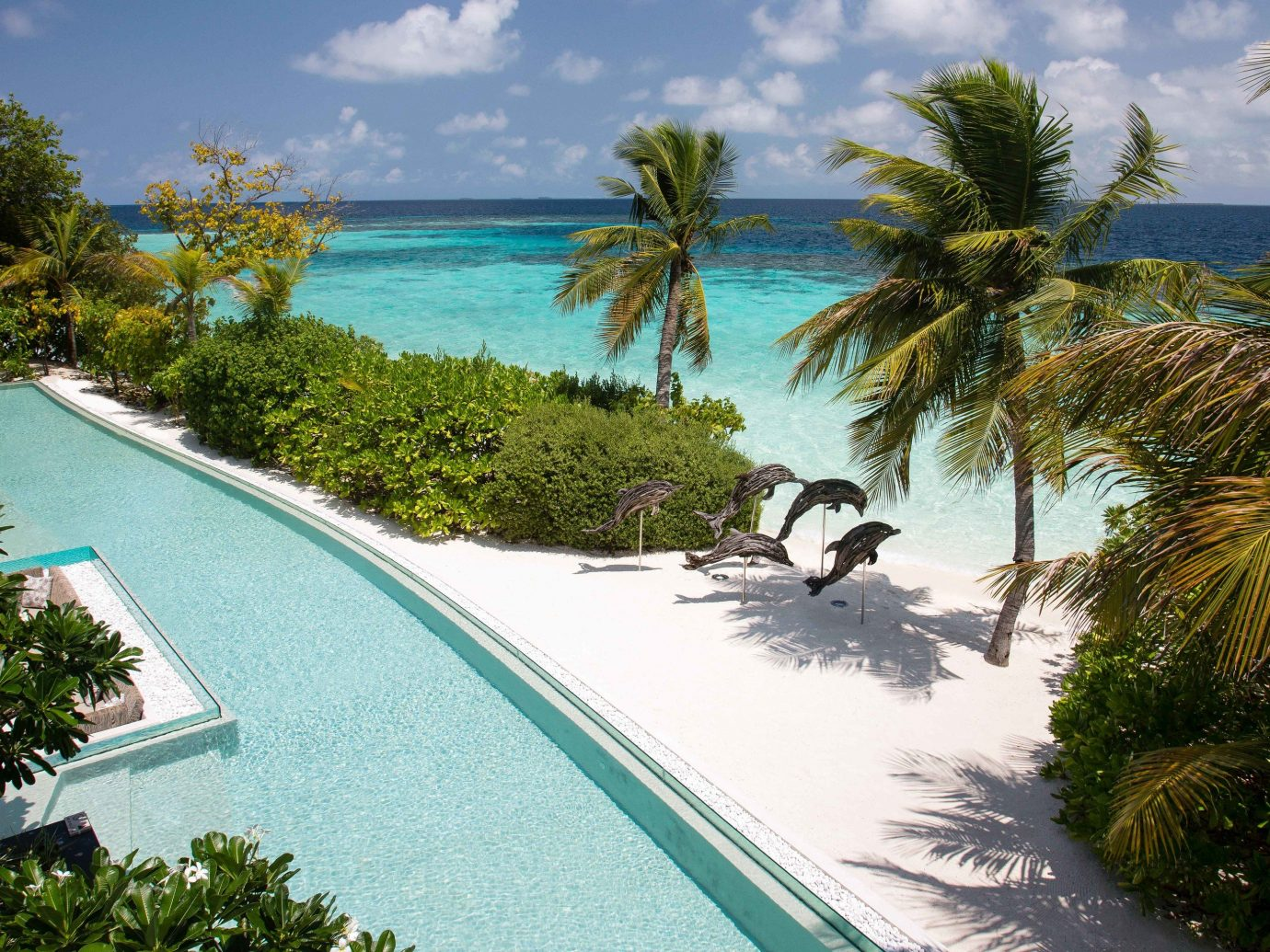 Pool and beach at Coco Prive in the Maldives