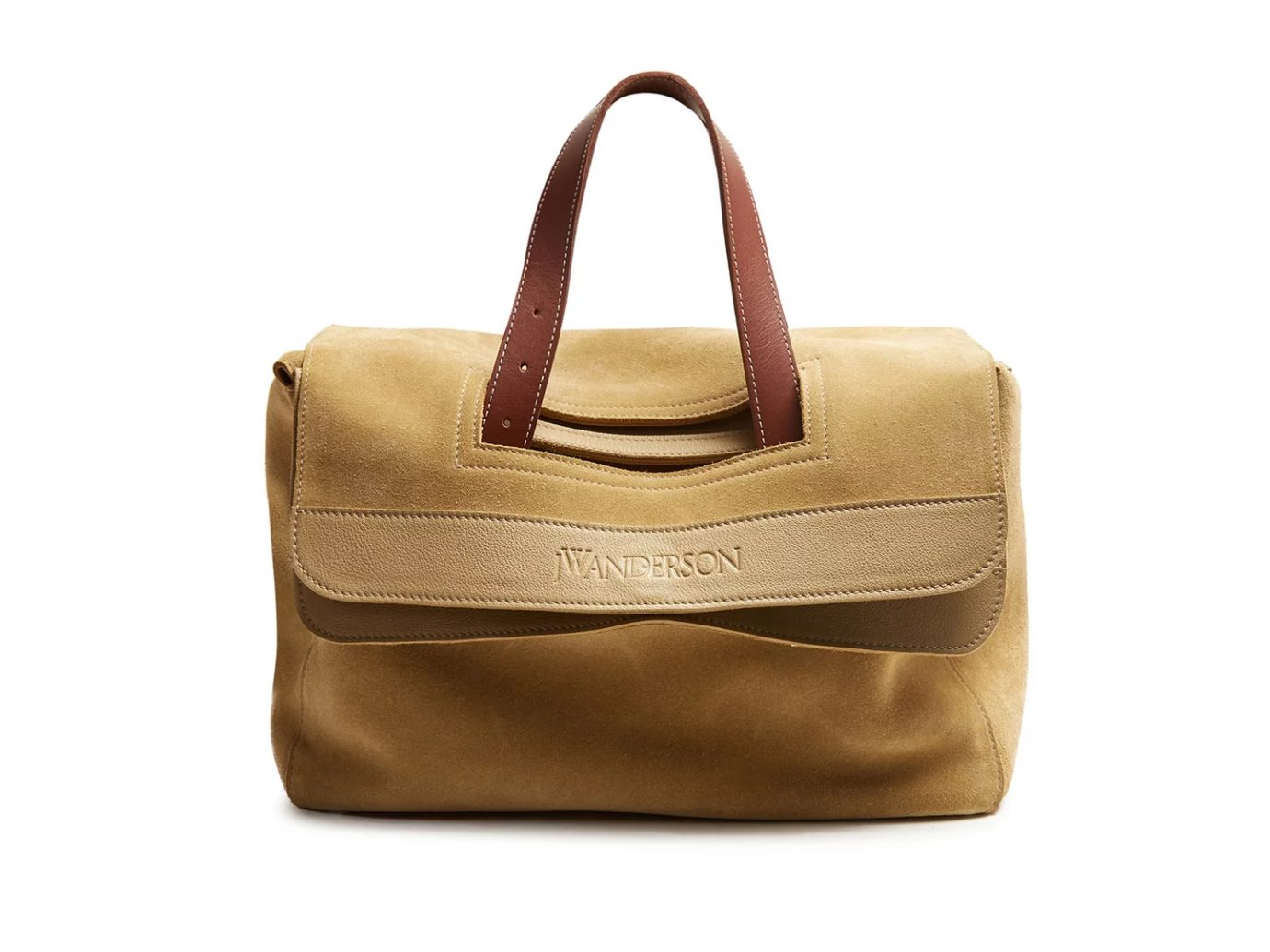 JW ANDERSON Tool leather-trimmed suede tote