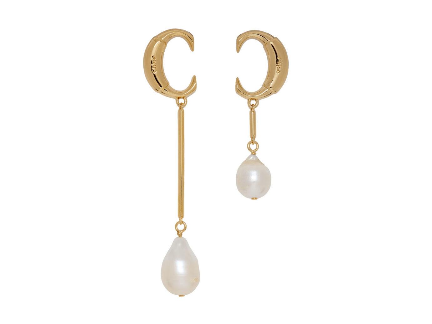 Chloé Gold 'Chloé C' Pearl Earrings