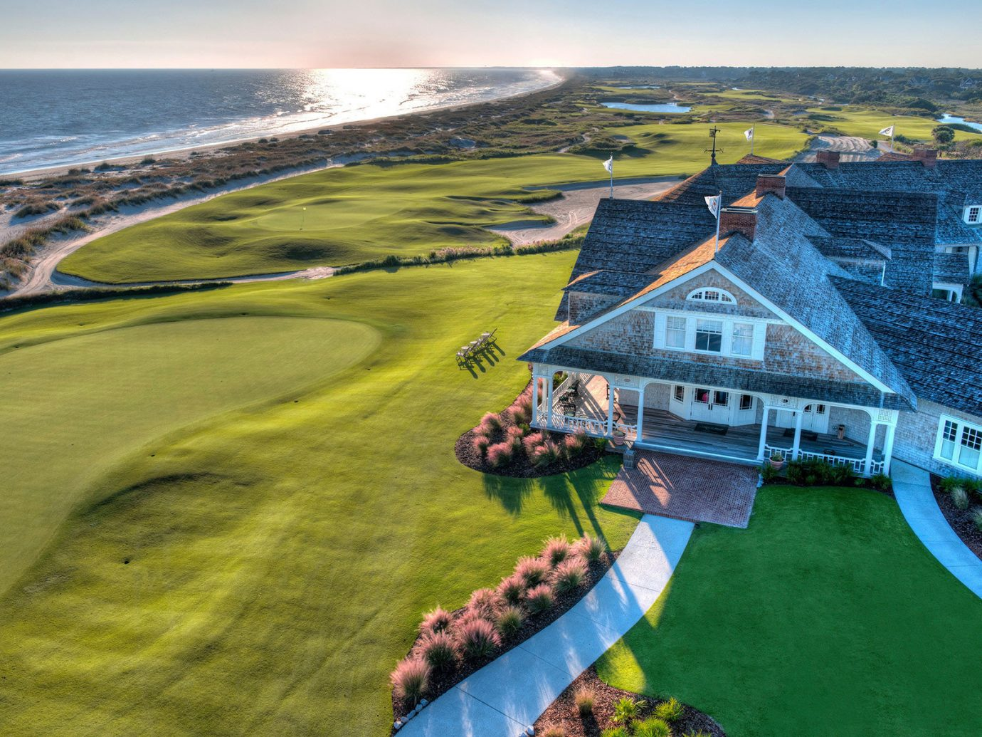 Aerial shot of home in Charleston