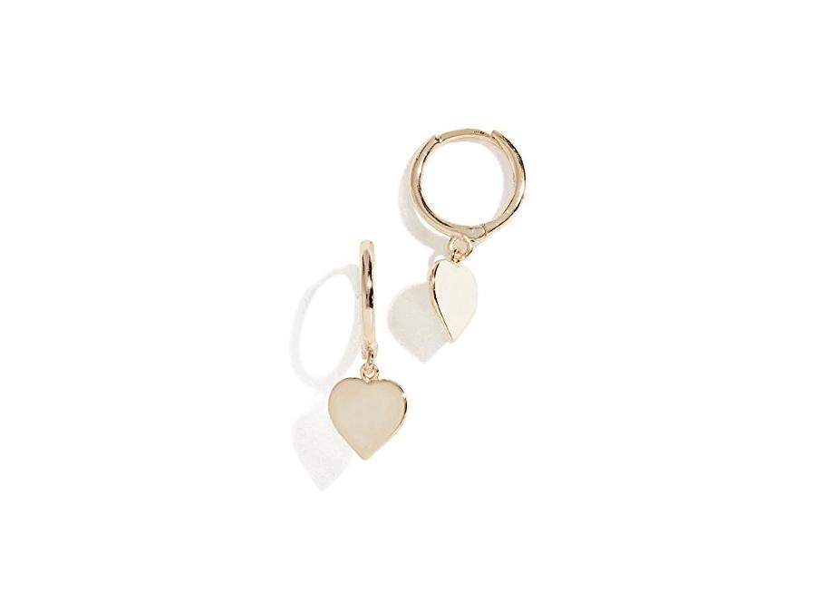 gold heart Shashi Candice Huggie Earrings on sale