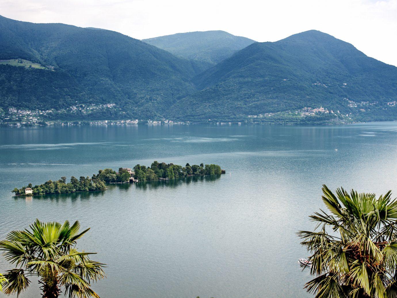 overview of Brissago Islands in Lake Maggiore